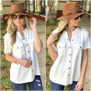 Cream Button Up Short Sleeve Shirt